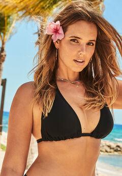 Beach Babe Triangle Bikini Top, BLACK