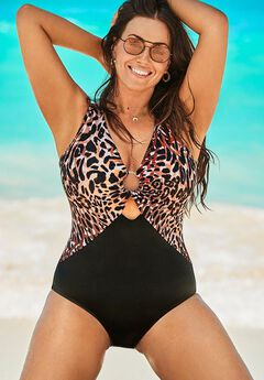 Center Ring Plunge One Piece Swimsuit, LEOPARD