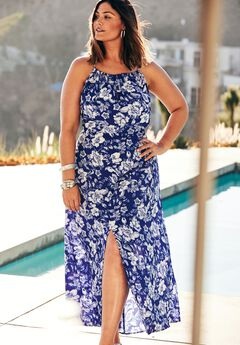 Keyhole Maxi Coverup with Adjustable Ties, DEEP BLUE FLORAL