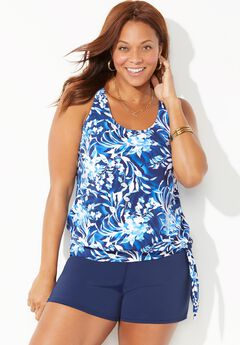 Side Tie Blouson Tankini Set with Short,