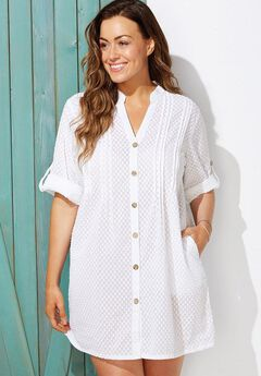 Brynn Sheer Button Up Cover Up Shirt,