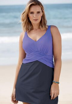 Faux Wrap Swimdress, DUSTY PURPLE NAVY