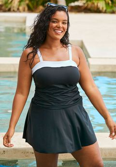 Contrast Band Swimdress,