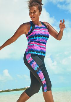 Chlorine Resistant Lycra Xtra Life High Neck Racerback Tankini Set with Capri,