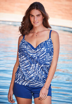 Two-In-One Blouson Tankini Top,