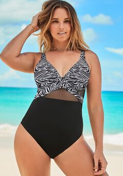 Cut Out Mesh Underwire One Piece Swimsuit, BLACK WHITE JUNGLE