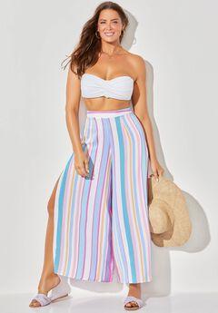 Mara Beach Pant with Side Slits, LIGHT STRIPE