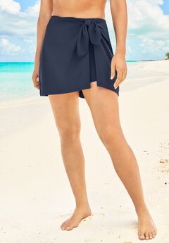 Faux-Wrap Swim Skirt,