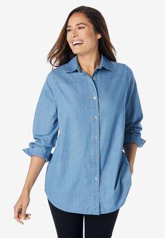 classic long-sleeve denim shirt, LIGHT STONEWASH