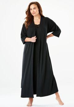 Lace Trimmed Knit Peignoir Set by Amoureuse®,