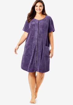 Dreams & Co.® Zip-Front Embossed Terry Robe,