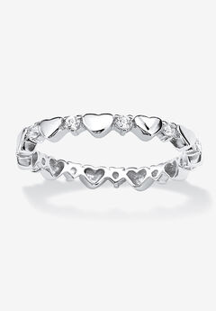 Simulated Birthstone Heart Eternity Ring,