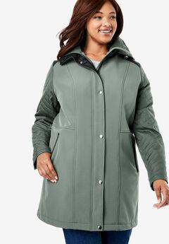 Mixed Media Hooded Jacket,
