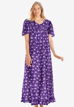 Long Floral Print Cotton Gown by Dreams & Co.®, PLUM BURST BOUQUET
