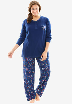 Printed thermal knit Henley pj set by Dreams & Co.®,