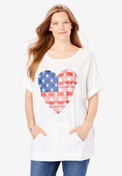 Americana Kangaroo Pocket Tee, AMERICANA HEART