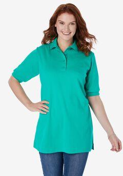 Elbow-Sleeve Polo Shirt, TROPICAL EMERALD