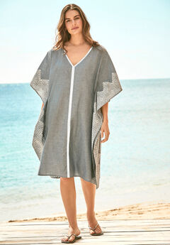 Contrast-Trim Chambray Cover Up,