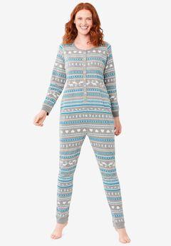 Holiday Print Onesie Pajama , MEDIUM HEATHER GREY FAIR ISLE