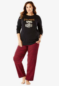 Fleece Sweatshirt & Pant Pajama Set by Dreams & Co.®,