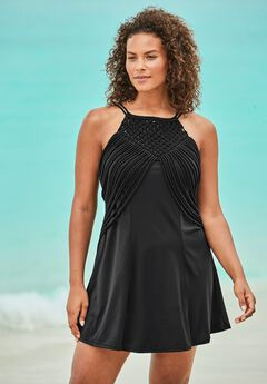 High-Neck Macrame Swim Dress by Swim 365,
