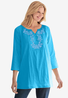 Embroidered Crinkle Tunic, PARADISE BLUE ROSE EMBROIDERY