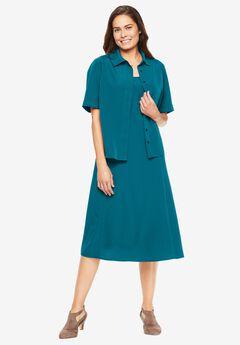 Two-Piece Peachskin Jacket Dress,