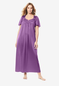 Long Silky Lace-Trim Gown , FRESH BERRY