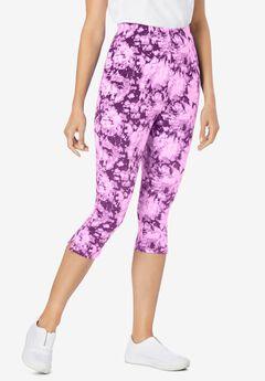 Stretch Cotton Printed Capri Legging, PLUM PURPLE TIE-DYE