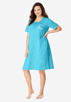 Cotton Sleepshirt, CARIBBEAN BLUE MORNING