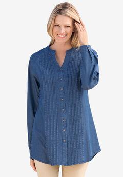 Denim Notch-Neck Pintuck Button-Front Tunic,