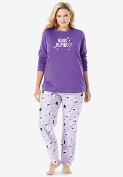 Fleece Sweatshirt Pajama Set , SOFT IRIS SHEEP