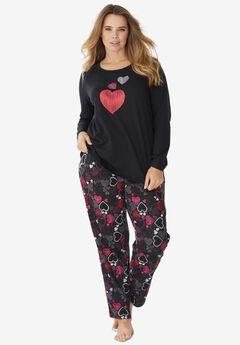 Long Sleeve Knit PJ Set , BLACK MULTI HEART
