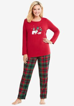 Long Sleeve Knit PJ Set , CLASSIC RED PLAID