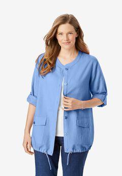 Collarless Linen Jacket,