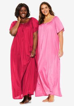 2-Pack Long Silky Gown by Only Necessities®,