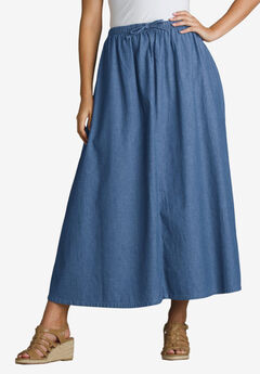 Flared Denim Skirt,