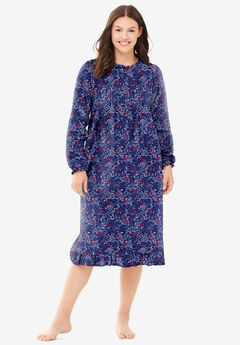 Cotton Flannel Print Short Gown ,