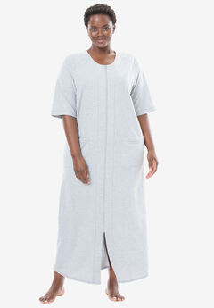 Long French Terry Zip-Front Robe by Dreams & Co.®, HEATHER GREY