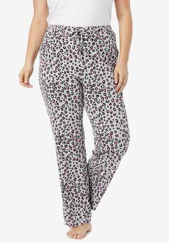 Knit Sleep Pant by Dreams & Co.®, HEATHER GREY ANIMAL