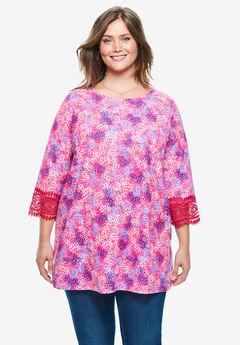 Crochet-Trim Three-Quarter Sleeve Tunic,
