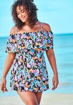 Off-The-Shoulder Flounce Swim Dress ,