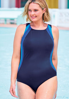 Colorblock One-Piece Swimsuit with Shelf Bra ,