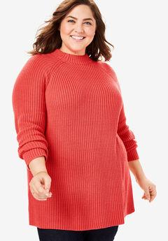 Mock Neck Shaker Sweater, SOFT GERANIUM