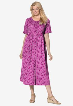 Button-Front Essential Dress, RASPBERRY PRETTY BLOSSOM