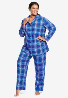Classic Flannel Pajama Set by Dreams & Co.®, BLUE SAPPHIRE PLAID