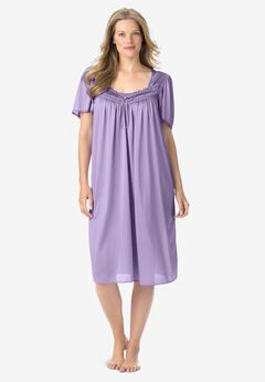 Short Silky Lace-Trim Gown , SOFT IRIS