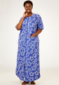 Long French Terry Robe by Dreams & Co.®, BLUE SAPPHIRE STAR