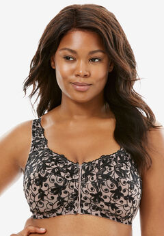 Scroll Embroidered Wireless Front-Close Bra by Amoureuse®, LIGHT TAUPE BLACK