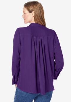 Long-Sleeve Pleat Back Shirt,